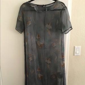 Long Sleek sheer gray dress